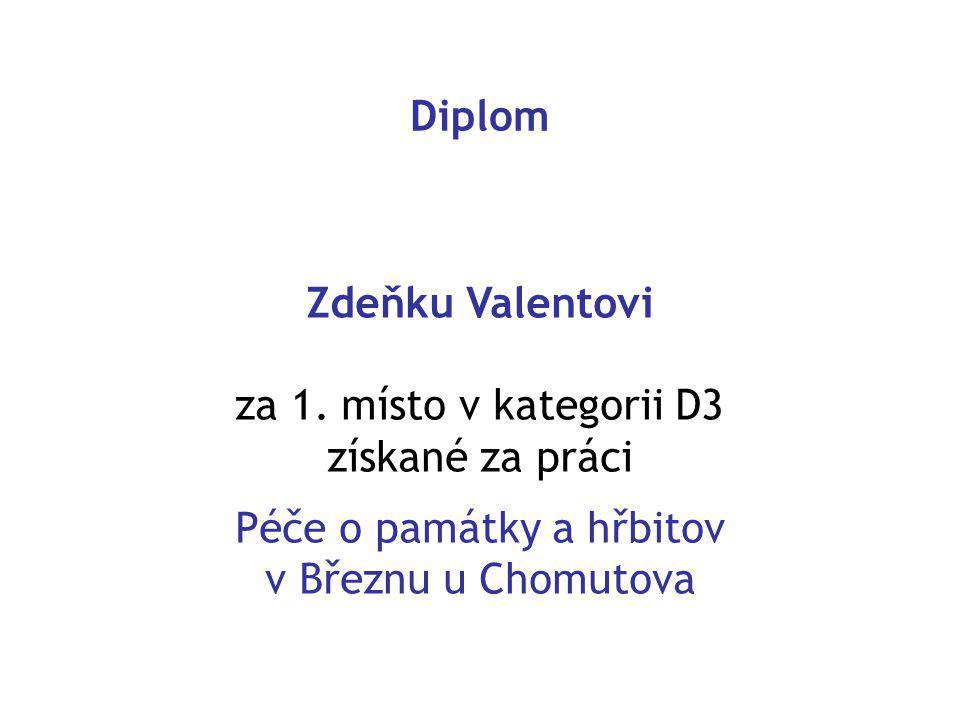 Diplom Zdeňku Valentovi za 1.