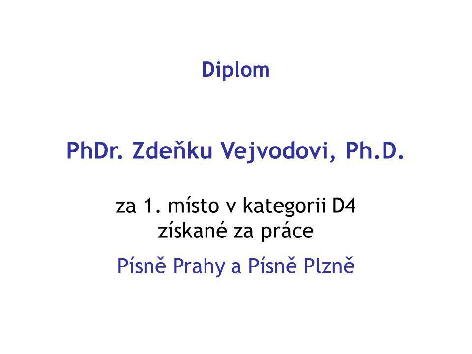 Diplom PhDr. Zdeňku Vejvodovi, Ph.D. za 1.