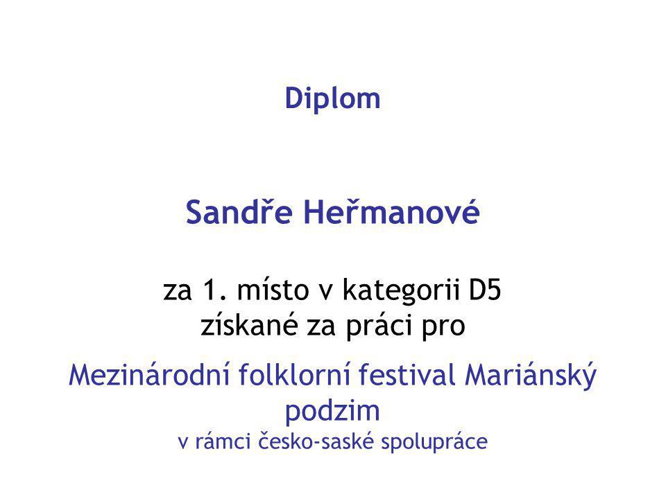 Diplom Sandře Heřmanové za 1.