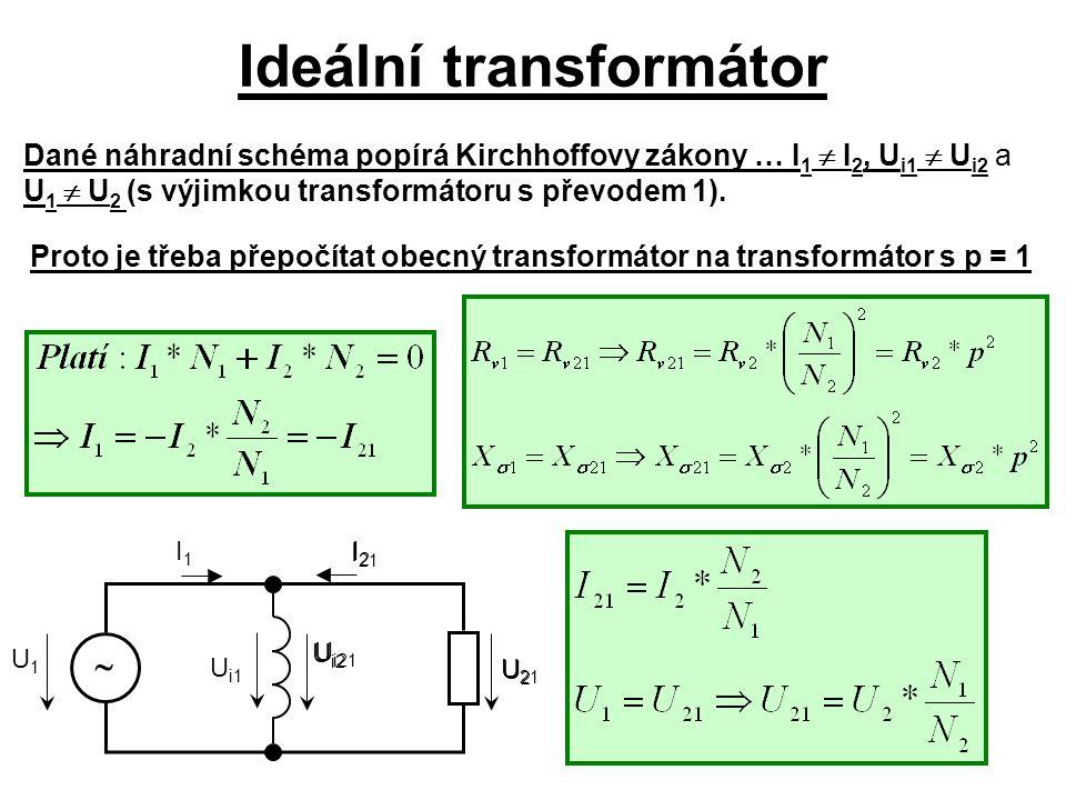 Ideální transformátor I 21 U 21 U1U1 I1I1  U i1 U i21 Dané náhradní schéma popírá Kirchhoffovy zákony … I 1  I 2, U i1  U i2 a U 1  U 2 (s výjimko