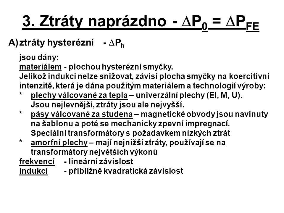 A)ztráty hysterézní -  P h jsou dány: materiálem - plochou hysterézní smyčky. Jelikož indukci nelze snižovat, závisí plocha smyčky na koercitivní int