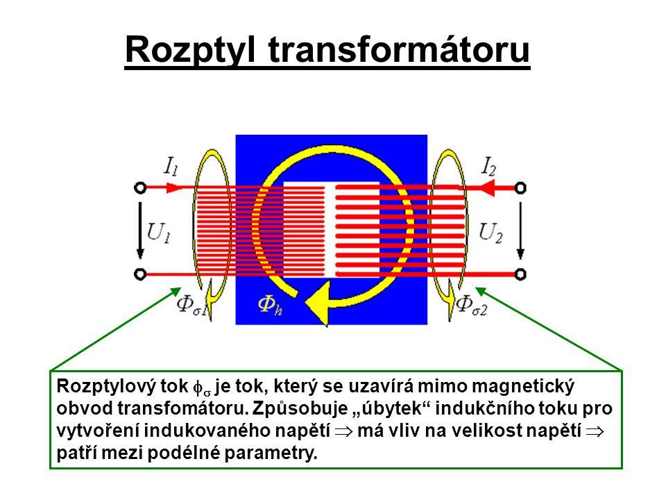 """Rozptyl transformátoru Rozptylový tok   je tok, který se uzavírá mimo magnetický obvod transfomátoru. Způsobuje """"úbytek"""" indukčního toku pro vytvoře"""