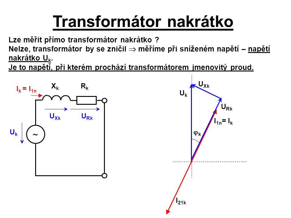Transformátor nakrátko U Rk U Xk I k = I 1n UkUk XkXk RkRk  Lze měřit přímo transformátor nakrátko ? Nelze, transformátor by se zničil  měříme při s