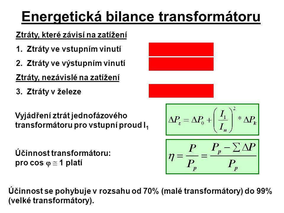 Energetická bilance transformátoru Ztráty, které závisí na zatížení 1.Ztráty ve vstupním vinutí  P j1 = I 1 2 * R 1 2.Ztráty ve výstupním vinutí  P