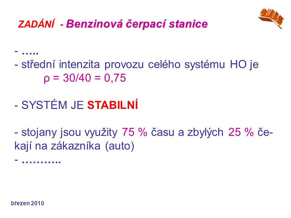 U stojanu se auta zdrží: a) stejnou dobu u všech stojanů b) různou dobu u každého z nich – v popisu výsledků udejte doby pro jedno- tlivé stojany.