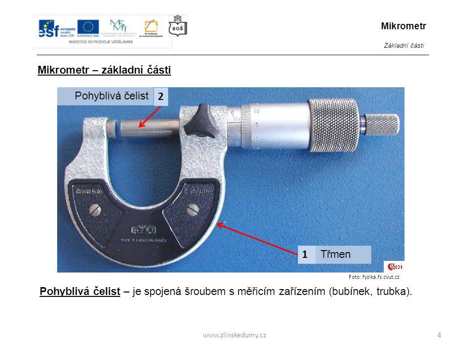 Foto: fyzika.fs.cvut.cz www.zlinskedumy.cz5 1 3 Třmen Pohyblivá čelist Trubka 2 Mikrometr – základní části Mikrometr Základní části Trubka – je podélně opatřena stupnicí pro určování milimetrů (dělená po 0,5 mm).