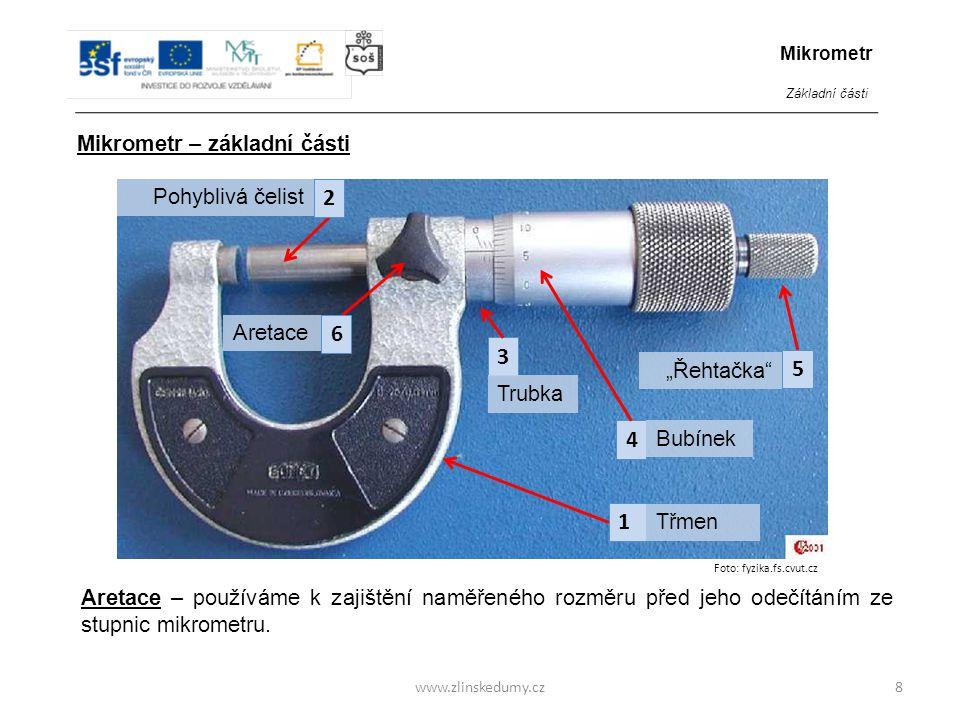 www.zlinskedumy.cz Dokážete podle obrázku přiřadit hlavním částem mikrometru správné názvy.