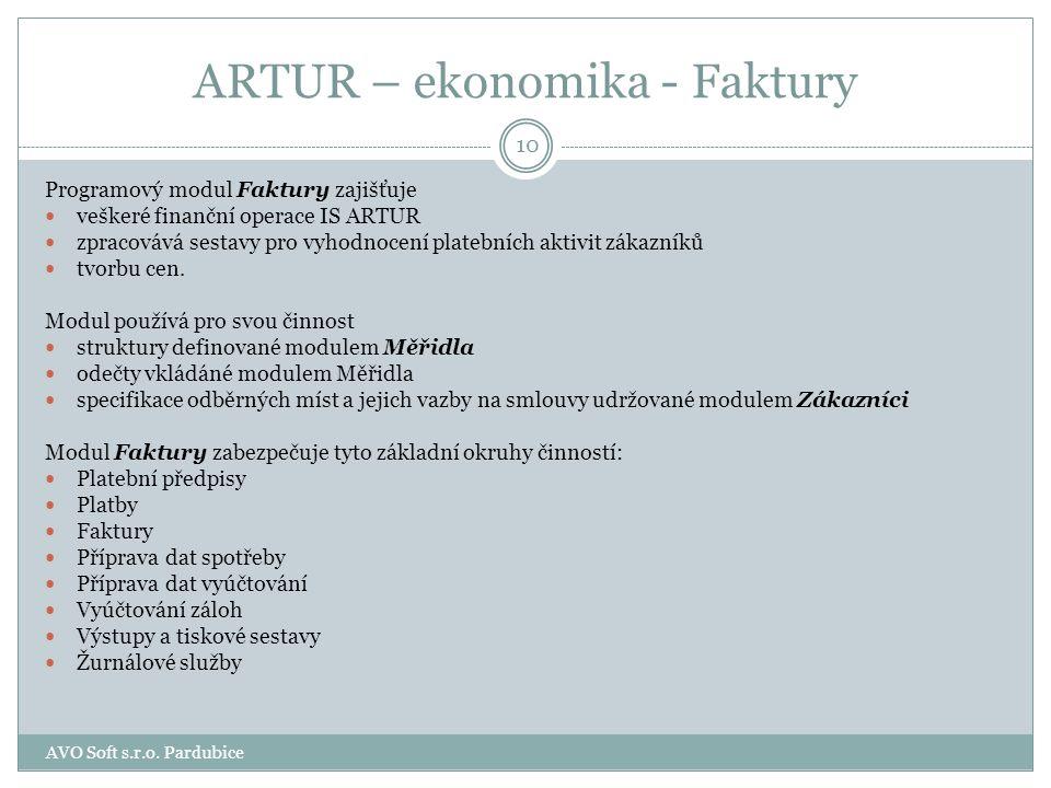 ARTUR - ekonomika ekonomiku představují dva moduly Faktury Ekonomické analýzy 9 AVO Soft s.r.o. Pardubice