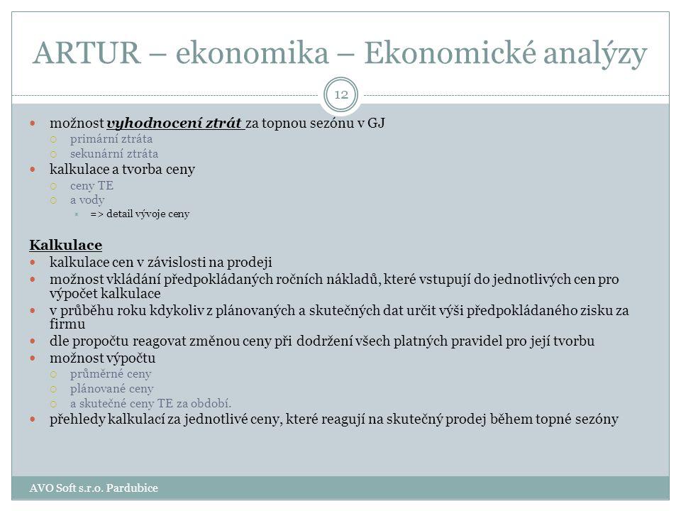ARTUR – ekonomika – Ekonomické analýzy Programový modul Ekonomické analýzy obsahuje. Plán plán a jeho vyhotovení  skutečné a plánované spotřeby  TE