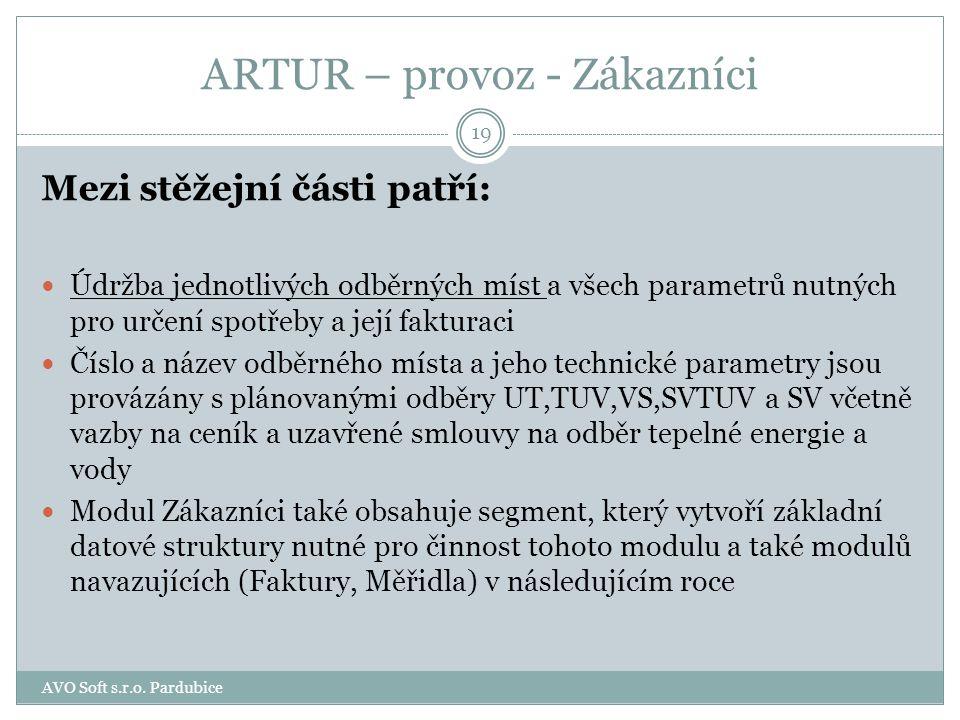 ARTUR – provoz - Zákazníci Programový modul Zákazníci je jednou ze základních částí informačního systému, který v sobě zahrnuje práci se: zákazníky sm