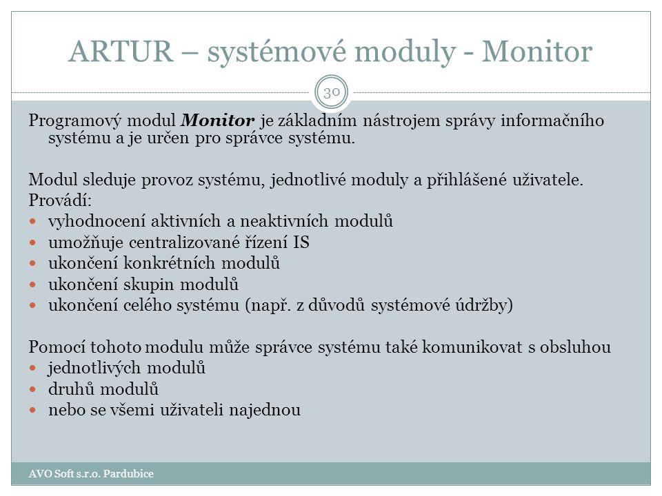 ARTUR – systémové moduly Monitor Žurnálové služby 29 AVO Soft s.r.o. Pardubice