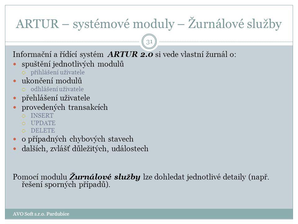 ARTUR – systémové moduly - Monitor Programový modul Monitor je základním nástrojem správy informačního systému a je určen pro správce systému. Modul s