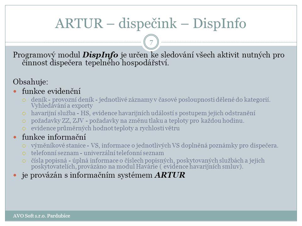 ARTUR - provoz obsahuje moduly Zákazníci Měřidla Havárie 17 AVO Soft s.r.o. Pardubice