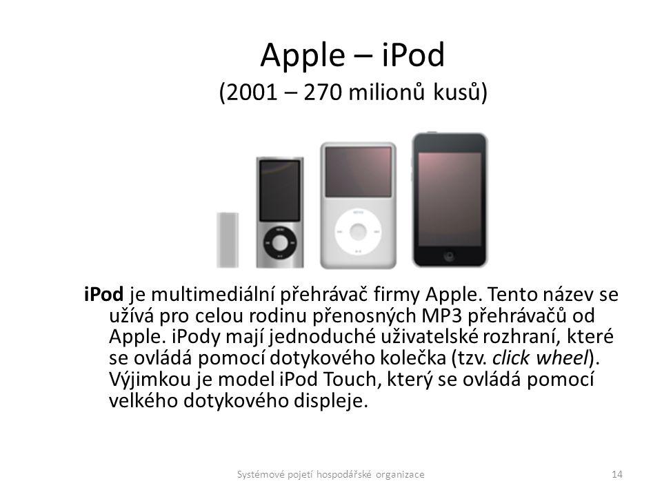 Apple – iPod (2001 – 270 milionů kusů) iPod je multimediální přehrávač firmy Apple. Tento název se užívá pro celou rodinu přenosných MP3 přehrávačů od