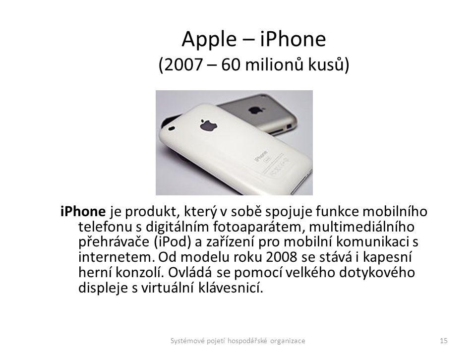 Apple – iPhone (2007 – 60 milionů kusů) iPhone je produkt, který v sobě spojuje funkce mobilního telefonu s digitálním fotoaparátem, multimediálního p