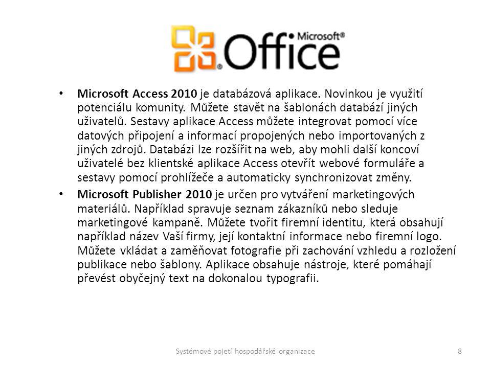 Microsoft Access 2010 je databázová aplikace. Novinkou je využití potenciálu komunity. Můžete stavět na šablonách databází jiných uživatelů. Sestavy a