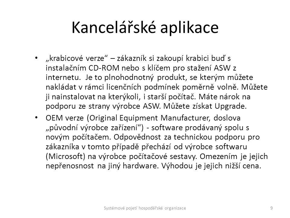 """Kancelářské aplikace """"krabicové verze"""" – zákazník si zakoupí krabici buď s instalačním CD-ROM nebo s klíčem pro stažení ASW z internetu. Je to plnohod"""