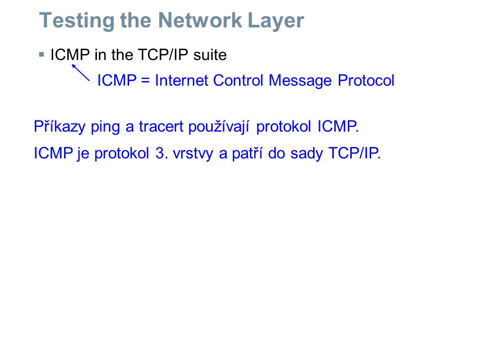 Testing the Network Layer  ICMP in the TCP/IP suite ICMP = Internet Control Message Protocol Příkazy ping a tracert používají protokol ICMP. ICMP je