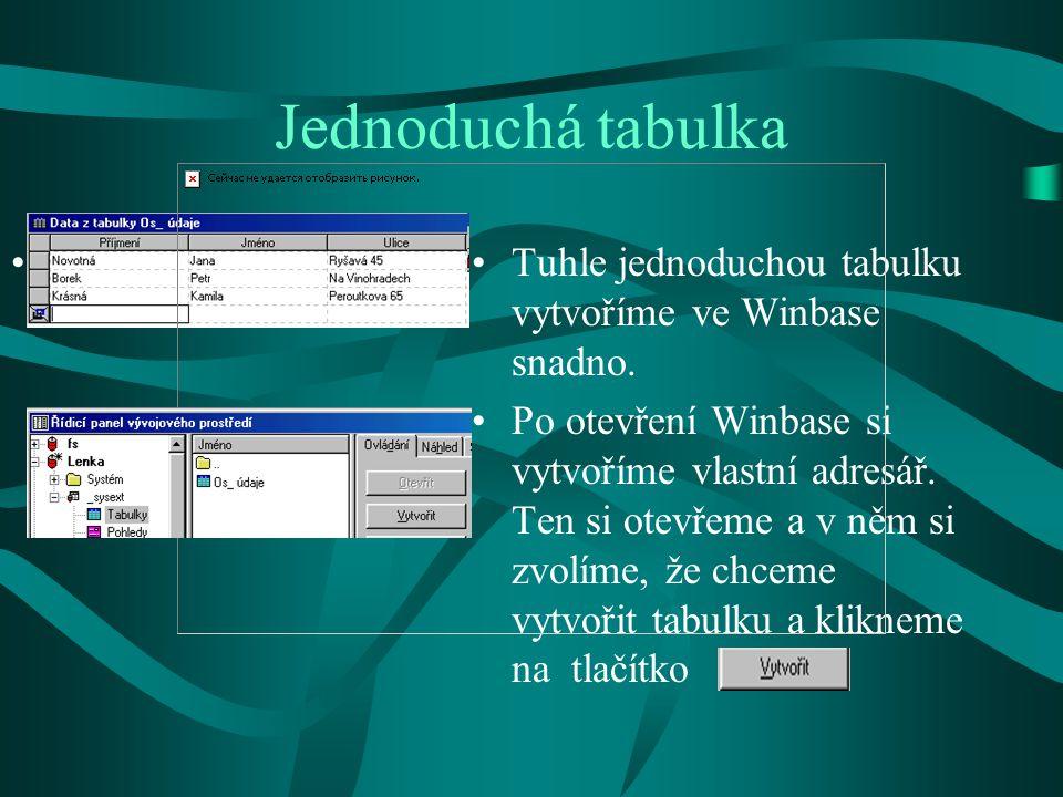 Vytvoření nové tabulky Nyní si popíšeme, jak postupovat: Při používání databáze se musí vždy nejprve vytvořit tabulka.