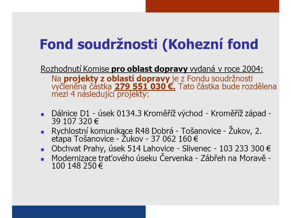Fond soudržnosti (Kohezní fond Rozhodnutí Komise pro oblast dopravy vydaná v roce 2004: Na projekty z oblasti dopravy je z Fondu soudržnosti vyčleněna částka 279 551 030 €.