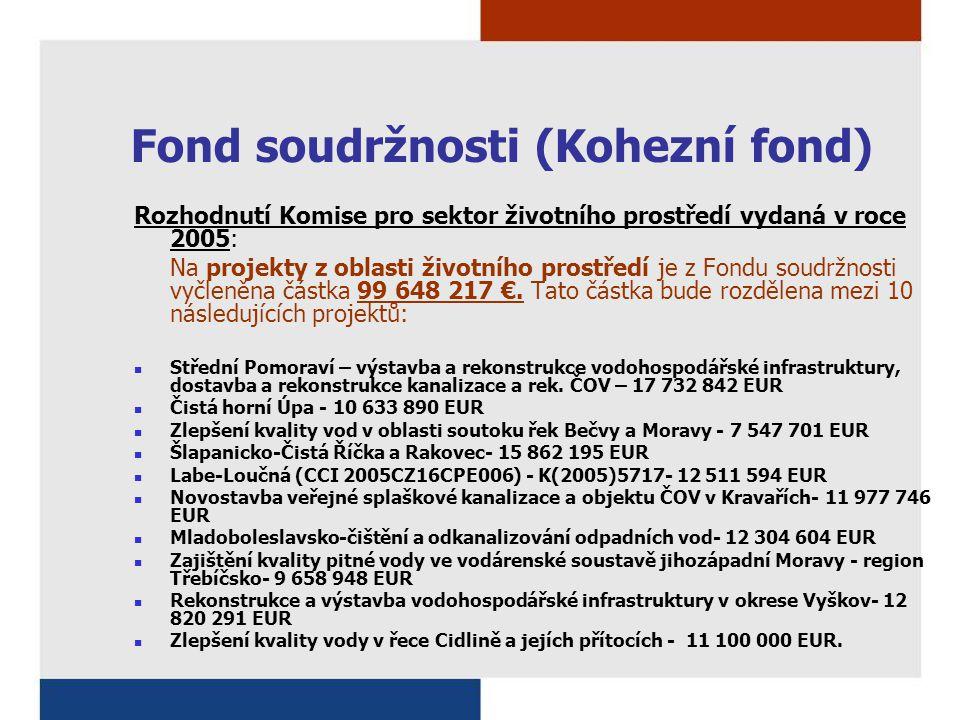 Fond soudržnosti (Kohezní fond) Rozhodnutí Komise pro sektor životního prostředí vydaná v roce 2005: Na projekty z oblasti životního prostředí je z Fondu soudržnosti vyčleněna částka 99 648 217 €.