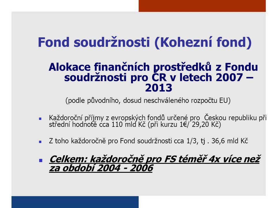 Fond soudržnosti (Kohezní fond) Alokace finančních prostředků z Fondu soudržnosti pro ČR v letech 2007 – 2013 (podle původního, dosud neschváleného rozpočtu EU) Každoroční příjmy z evropských fondů určené pro Českou republiku při střední hodnotě cca 110 mld Kč (při kurzu 1€/ 29,20 Kč) Z toho každoročně pro Fond soudržnosti cca 1/3, tj.