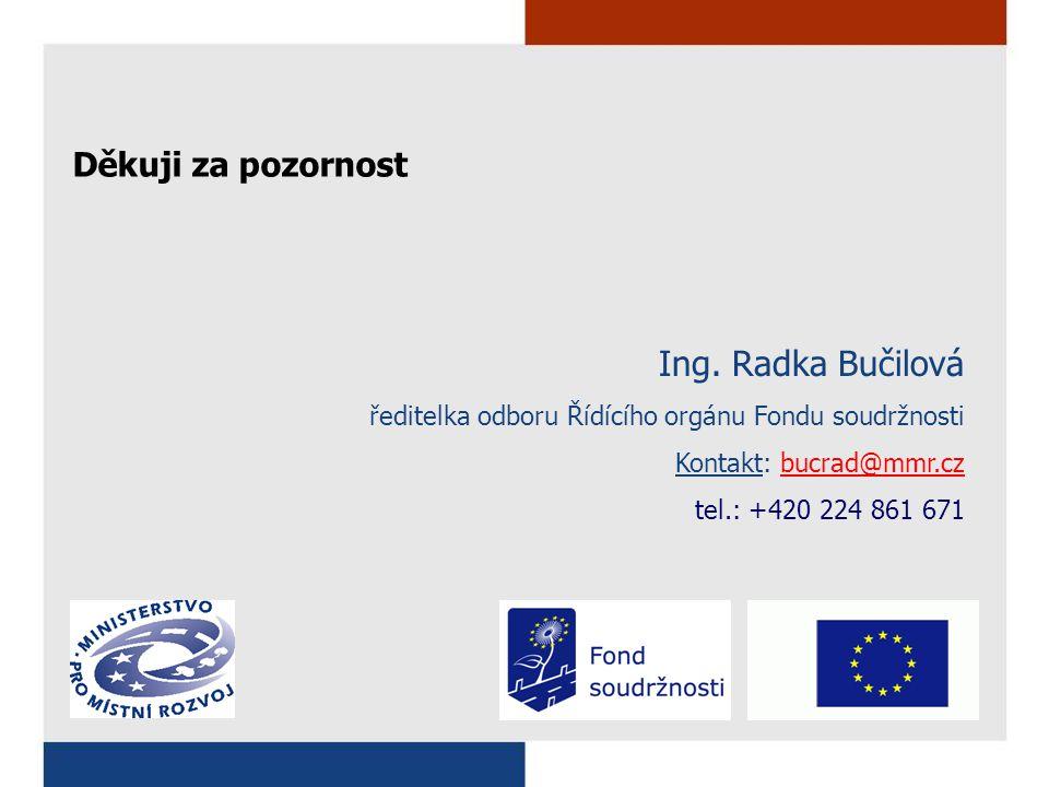 Ing. Radka Bučilová ředitelka odboru Řídícího orgánu Fondu soudržnosti Kontakt: bucrad@mmr.czbucrad@mmr.cz tel.: +420 224 861 671 Děkuji za pozornost