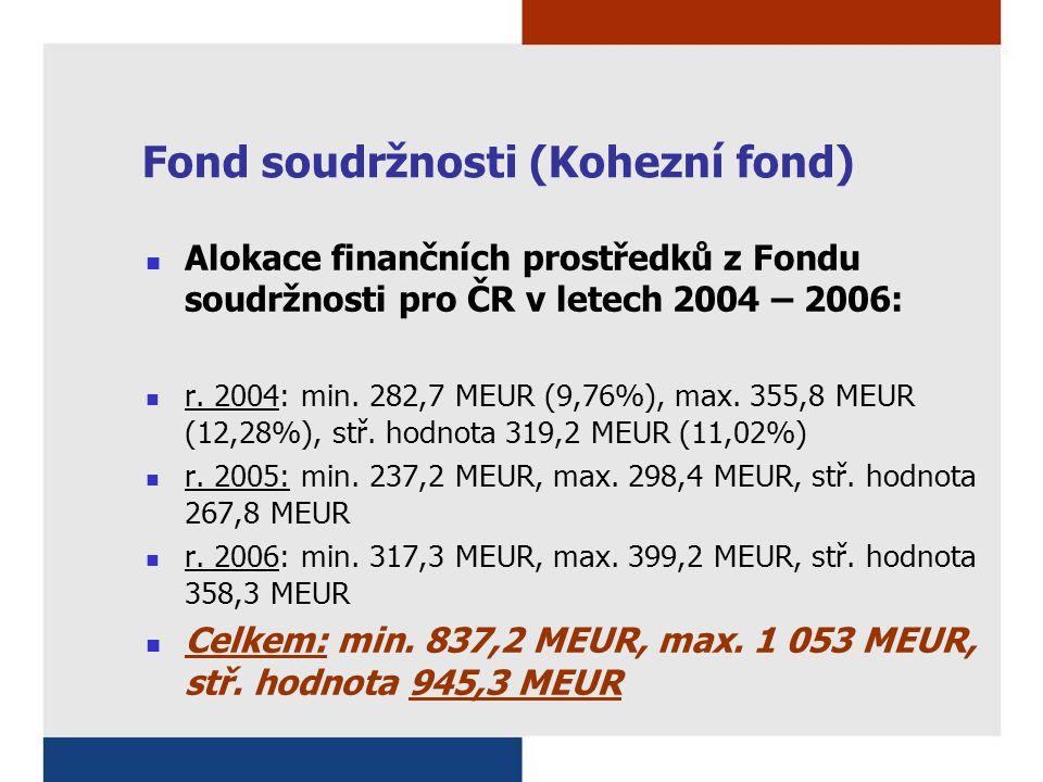 Fond soudržnosti (Kohezní fond) Alokace finančních prostředků z Fondu soudržnosti pro ČR v letech 2004 – 2006: r. 2004: min. 282,7 MEUR (9,76%), max.