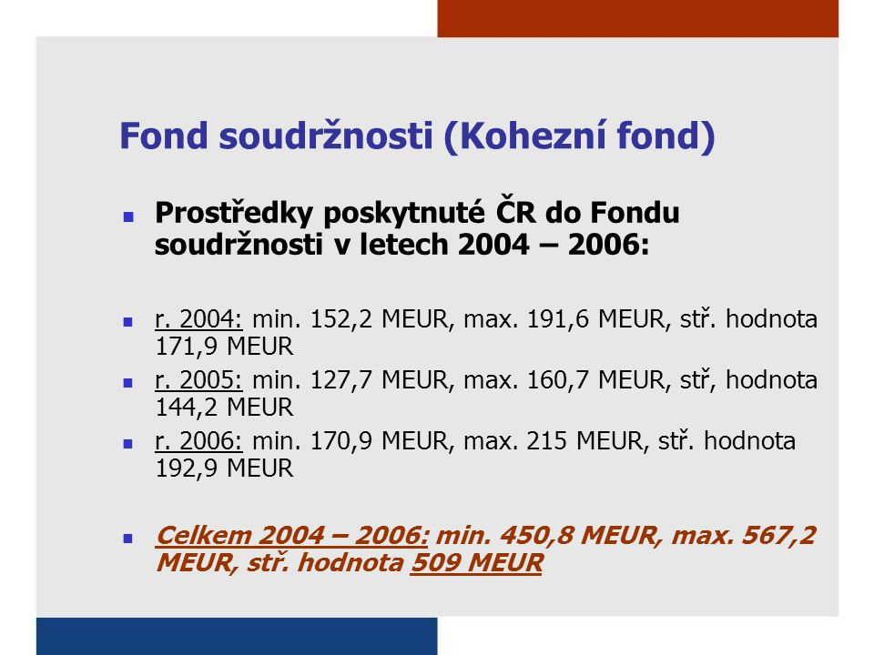 Fond soudržnosti (Kohezní fond) Prostředky poskytnuté ČR do Fondu soudržnosti v letech 2004 – 2006: r.