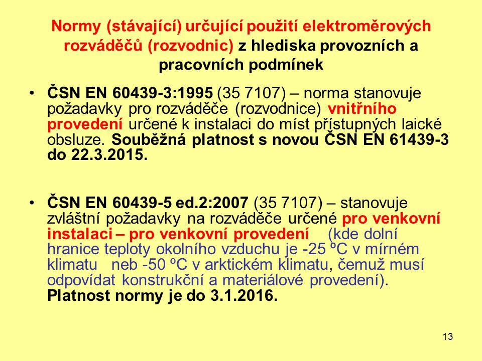 13 Normy (stávající) určující použití elektroměrových rozváděčů (rozvodnic) z hlediska provozních a pracovních podmínek ČSN EN 60439-3:1995 (35 7107) – norma stanovuje požadavky pro rozváděče (rozvodnice) vnitřního provedení určené k instalaci do míst přístupných laické obsluze.