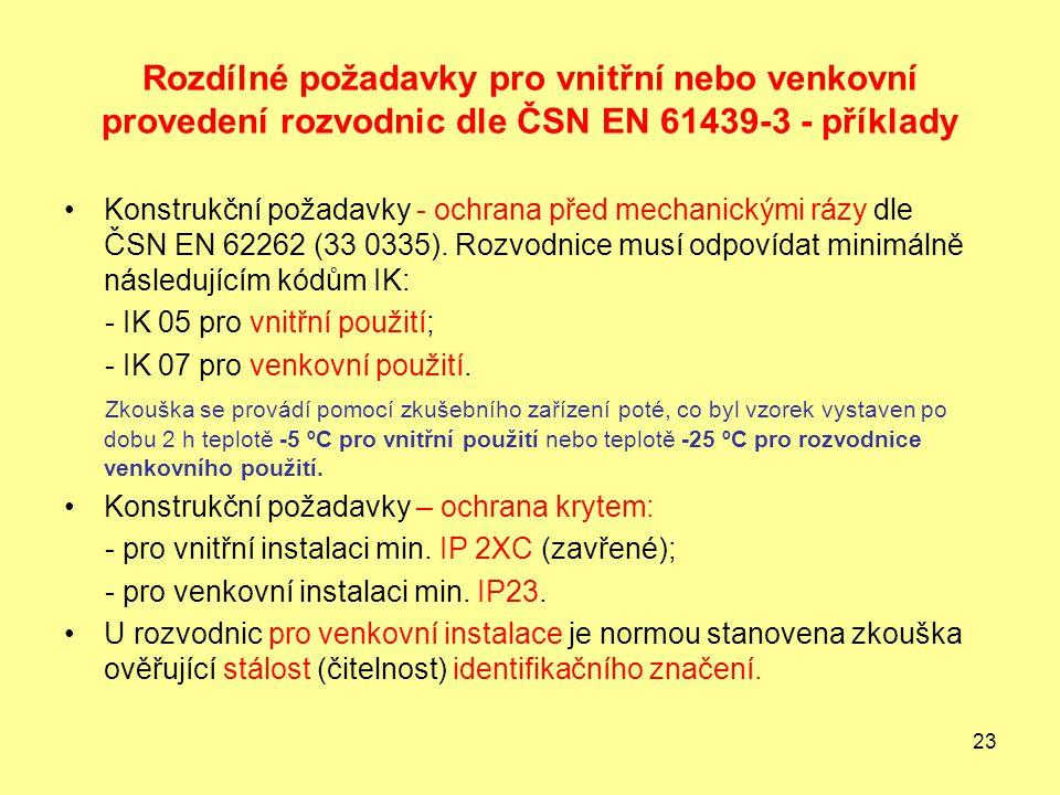 23 Rozdílné požadavky pro vnitřní nebo venkovní provedení rozvodnic dle ČSN EN 61439-3 - příklady Konstrukční požadavky - ochrana před mechanickými rázy dle ČSN EN 62262 (33 0335).