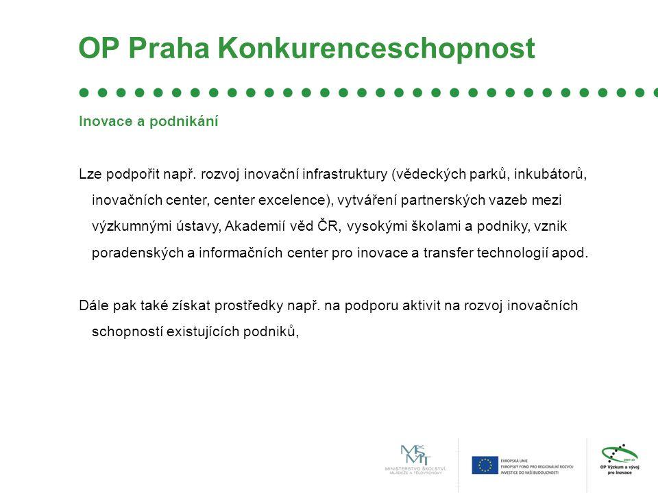 OP Praha Konkurenceschopnost Inovace a podnikání Lze podpořit např.