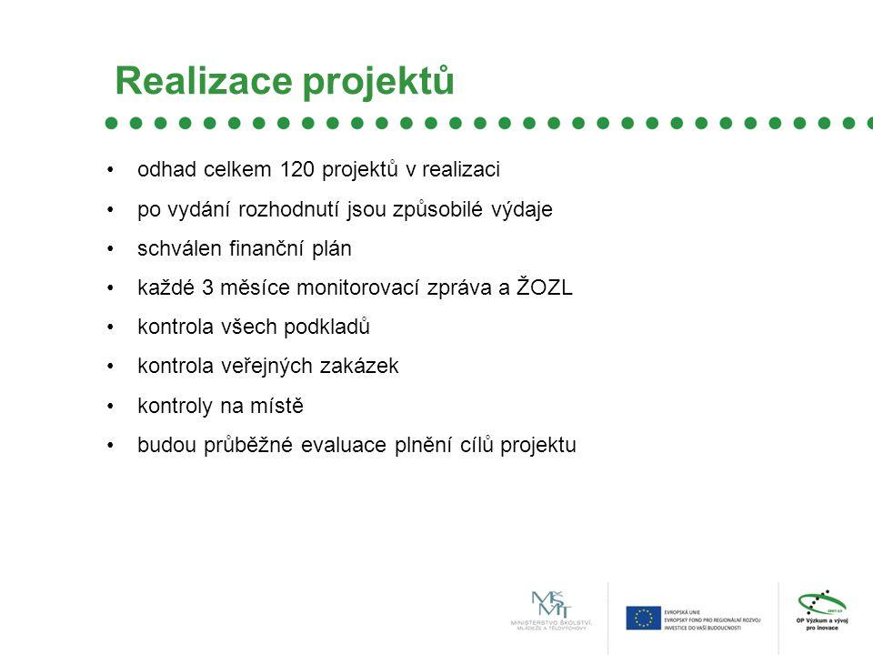 Realizace projektů odhad celkem 120 projektů v realizaci po vydání rozhodnutí jsou způsobilé výdaje schválen finanční plán každé 3 měsíce monitorovací zpráva a ŽOZL kontrola všech podkladů kontrola veřejných zakázek kontroly na místě budou průběžné evaluace plnění cílů projektu