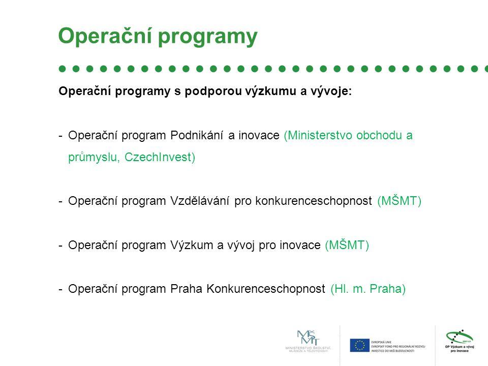 Operační programy Operační programy s podporou výzkumu a vývoje: -Operační program Podnikání a inovace (Ministerstvo obchodu a průmyslu, CzechInvest) -Operační program Vzdělávání pro konkurenceschopnost (MŠMT) -Operační program Výzkum a vývoj pro inovace (MŠMT) -Operační program Praha Konkurenceschopnost (Hl.