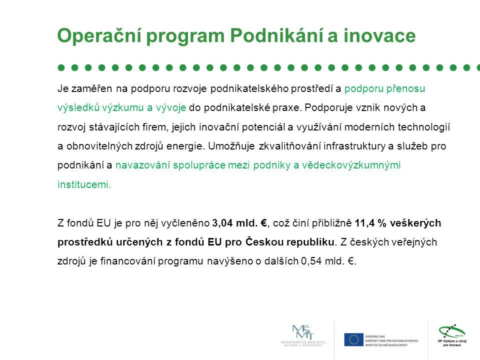 Operační program Podnikání a inovace Inovace –Inovační projekty - u projektů uplatňujících nová, originální řešení program umožní českým firmám pořízení moderních strojů, zařízení, know-how a licencí nutných k jejich realizaci.