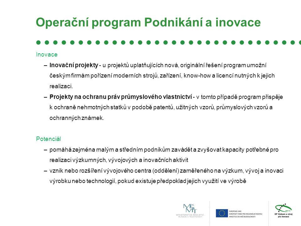 OP Vzdělávání pro konkurenceschopnost Operační program Vzdělávání pro konkurenceschopnost je zaměřený na zkvalitnění a modernizaci systémů počátečního, terciárního a dalšího vzdělávání, jejich propojení do komplexního systému celoživotního učení a ke zlepšení podmínek ve výzkumu a vývoji.