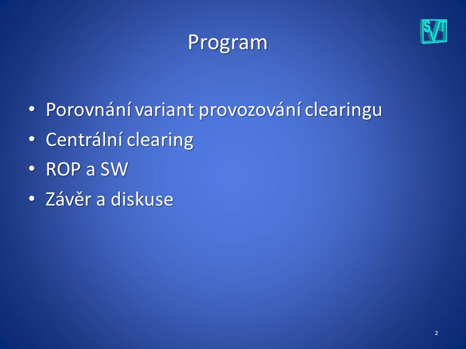 2 Program Porovnání variant provozování clearingu Porovnání variant provozování clearingu Centrální clearing Centrální clearing ROP a SW ROP a SW Závěr a diskuse Závěr a diskuse