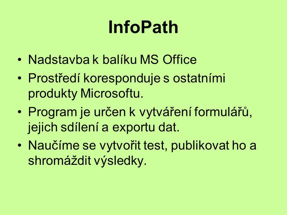 InfoPath Nadstavba k balíku MS Office Prostředí koresponduje s ostatními produkty Microsoftu.
