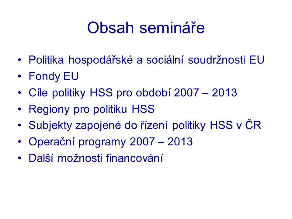 Odbor informování o evropských záležitostech Úřad vlády ČR Regiony pro politiku HSS NUTS 1 –územní jednotka obvykle tvořená několika celky či celým státem –3 – 7 milionů obyvatel NUTS 2 –většinou odpovídá úrovni středního článku územně správního členění státu –800 tis.