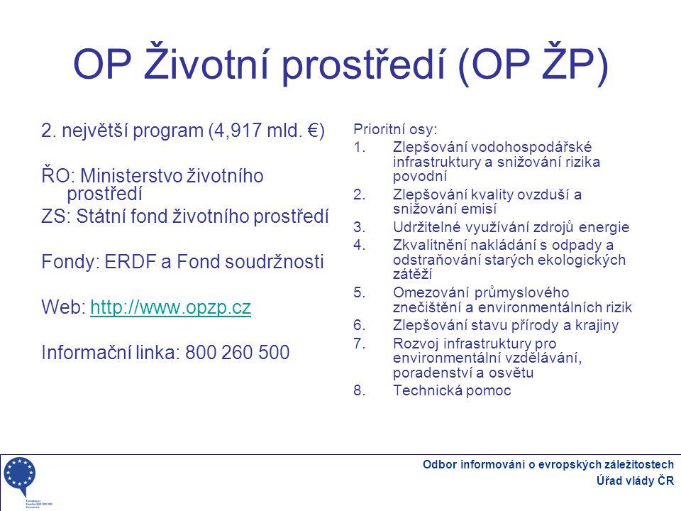 Odbor informování o evropských záležitostech Úřad vlády ČR OP Životní prostředí (OP ŽP) 2.