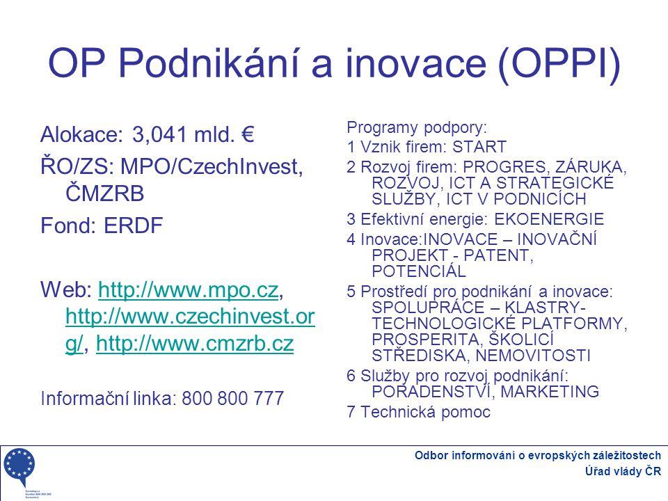 Odbor informování o evropských záležitostech Úřad vlády ČR OP Podnikání a inovace (OPPI) Alokace: 3,041 mld.