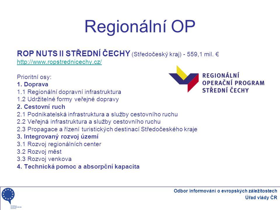 Odbor informování o evropských záležitostech Úřad vlády ČR Regionální OP ROP NUTS II STŘEDNÍ ČECHY (Středočeský kraj) - 559,1 mil.