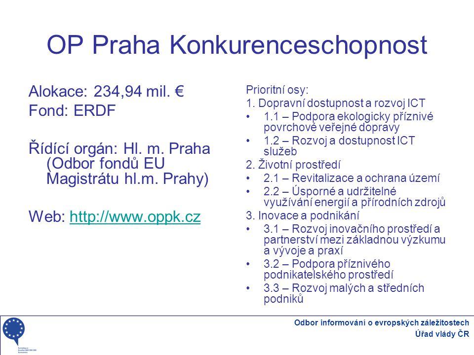 Odbor informování o evropských záležitostech Úřad vlády ČR OP Praha Konkurenceschopnost Alokace: 234,94 mil.
