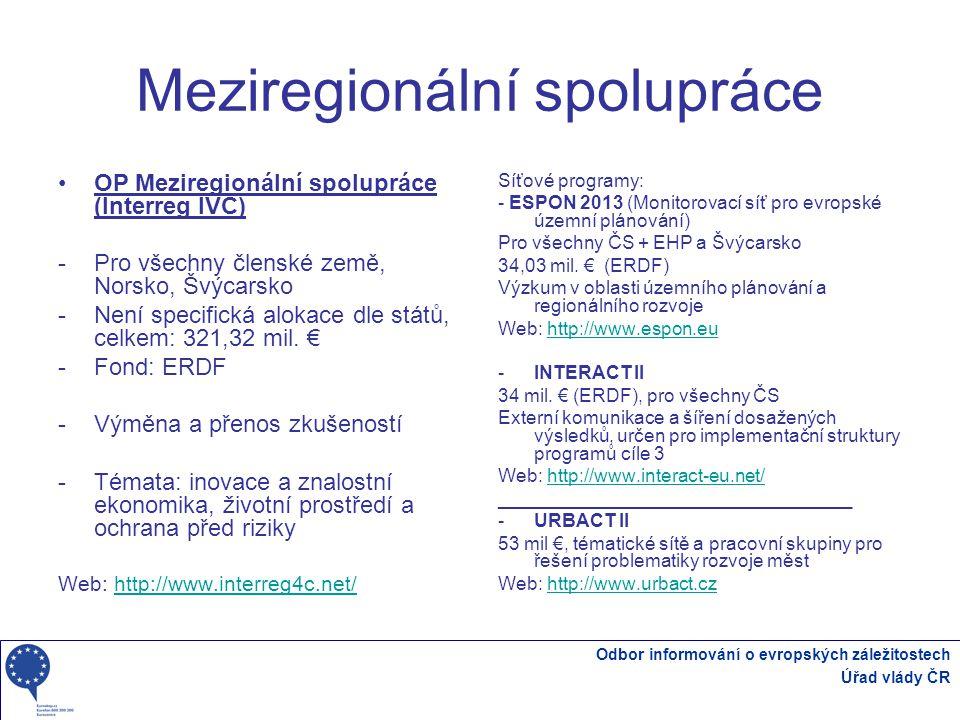 Odbor informování o evropských záležitostech Úřad vlády ČR Meziregionální spolupráce OP Meziregionální spolupráce (Interreg IVC) -Pro všechny členské země, Norsko, Švýcarsko -Není specifická alokace dle států, celkem: 321,32 mil.