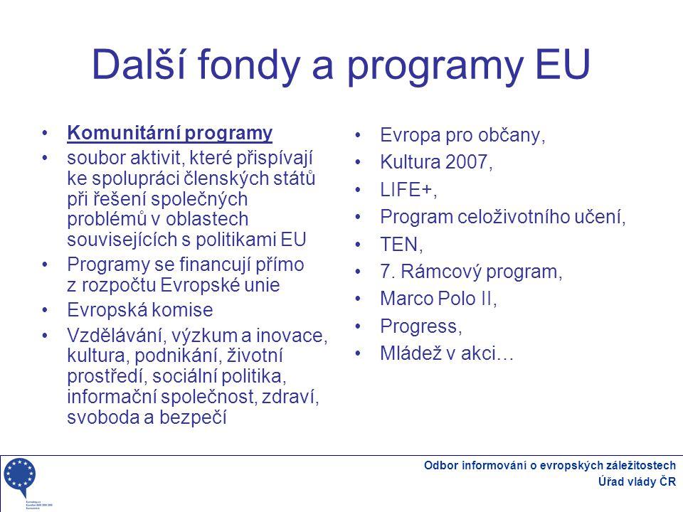 Odbor informování o evropských záležitostech Úřad vlády ČR Další fondy a programy EU Komunitární programy soubor aktivit, které přispívají ke spolupráci členských států při řešení společných problémů v oblastech souvisejících s politikami EU Programy se financují přímo z rozpočtu Evropské unie Evropská komise Vzdělávání, výzkum a inovace, kultura, podnikání, životní prostředí, sociální politika, informační společnost, zdraví, svoboda a bezpečí Evropa pro občany, Kultura 2007, LIFE+, Program celoživotního učení, TEN, 7.