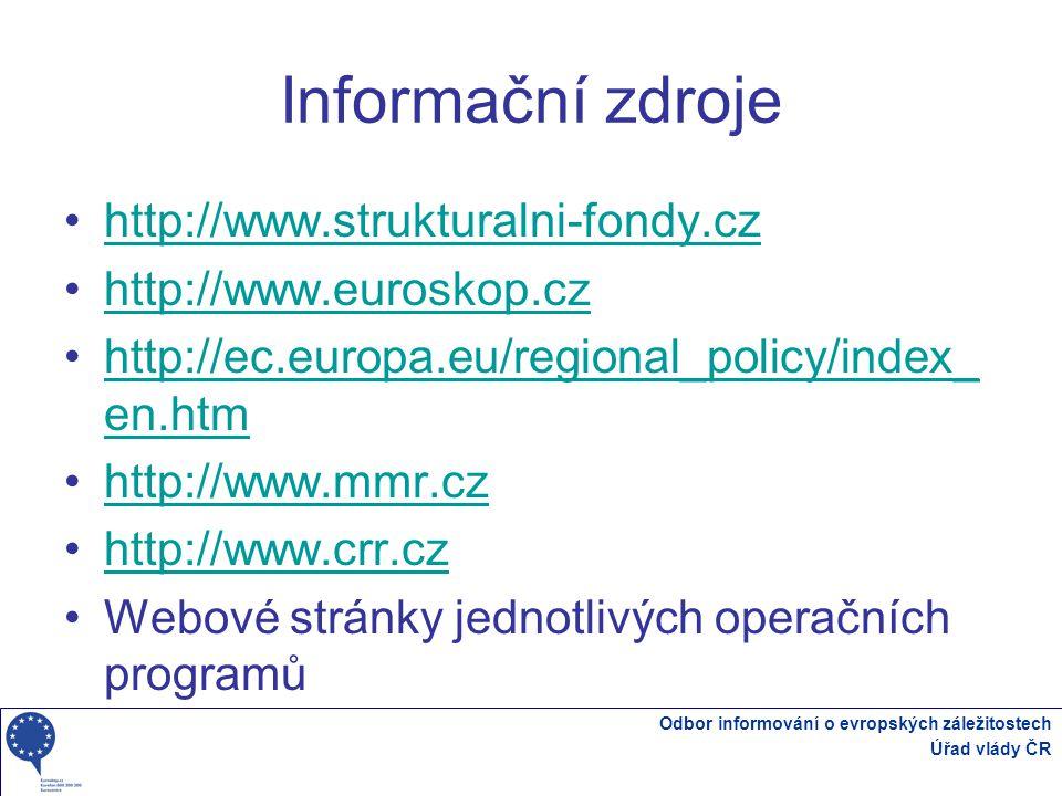 Odbor informování o evropských záležitostech Úřad vlády ČR Informační zdroje http://www.strukturalni-fondy.cz http://www.euroskop.cz http://ec.europa.eu/regional_policy/index_ en.htmhttp://ec.europa.eu/regional_policy/index_ en.htm http://www.mmr.cz http://www.crr.cz Webové stránky jednotlivých operačních programů