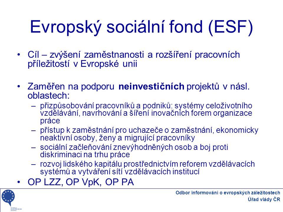 Odbor informování o evropských záležitostech Úřad vlády ČR Evropský sociální fond (ESF) Cíl – zvýšení zaměstnanosti a rozšíření pracovních příležitostí v Evropské unii Zaměřen na podporu neinvestičních projektů v násl.