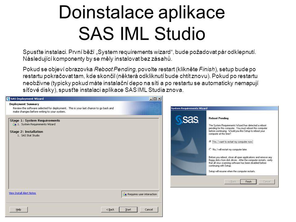 """Doinstalace aplikace SAS IML Studio Spusťte instalaci. První běží """"System requirements wizard"""", bude požadovat pár odklepnutí. Následující komponenty"""