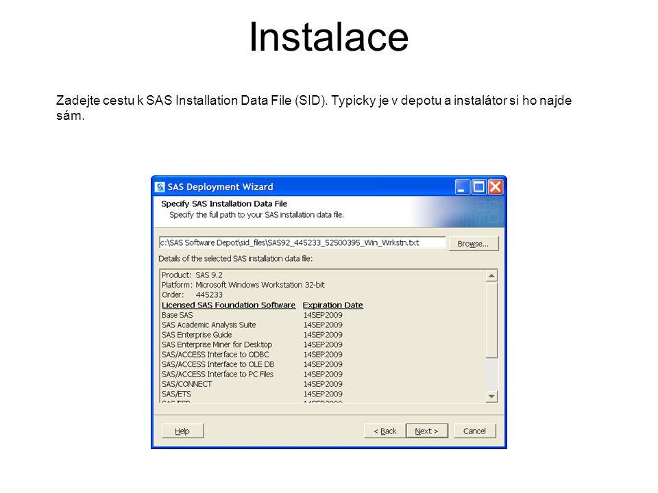 Zadejte cestu k SAS Installation Data File (SID). Typicky je v depotu a instalátor si ho najde sám. Instalace