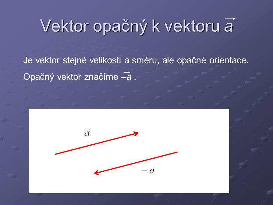 Vektor nulový Vektor nulový má velikost rovnou nule.